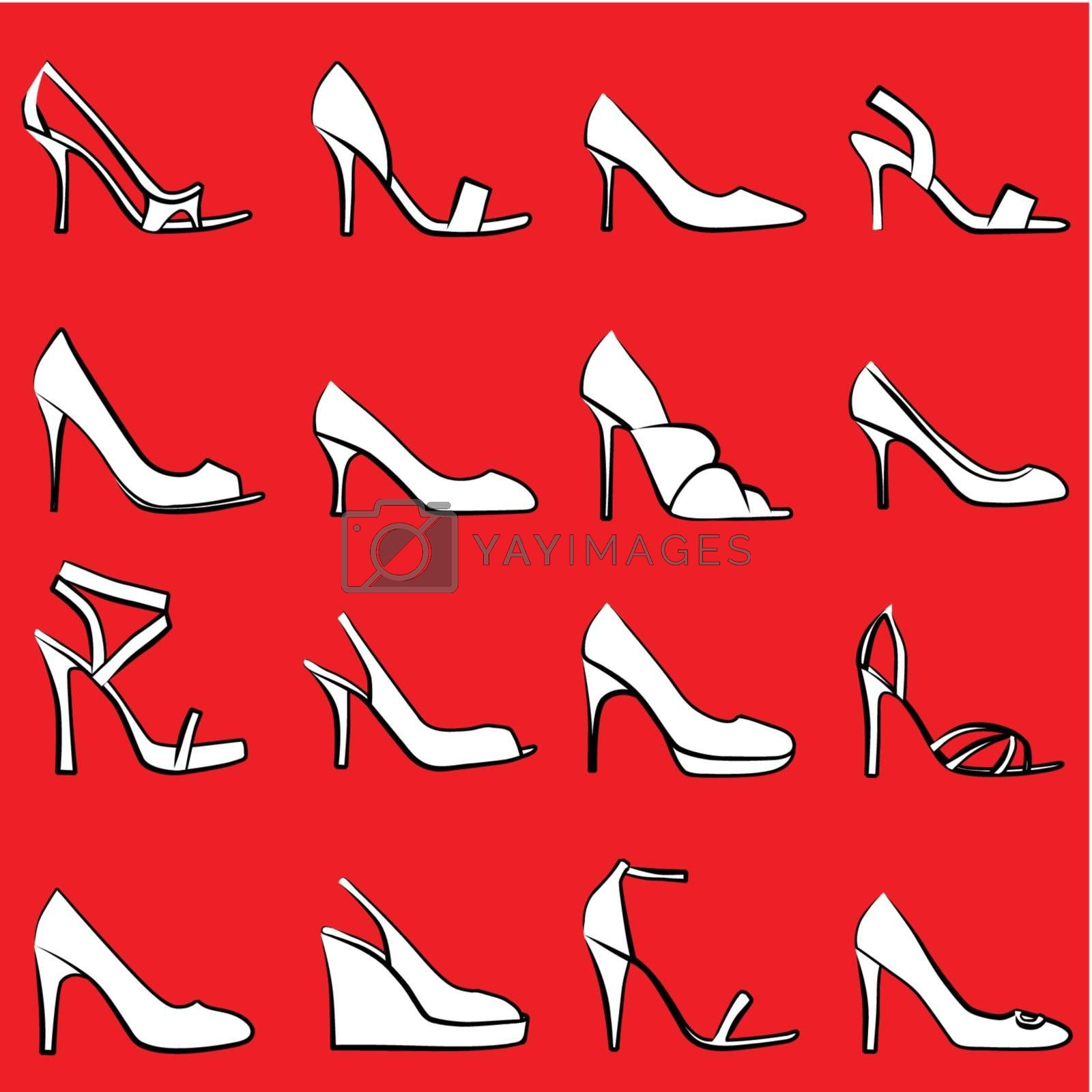 illustration of sixteen different shoes