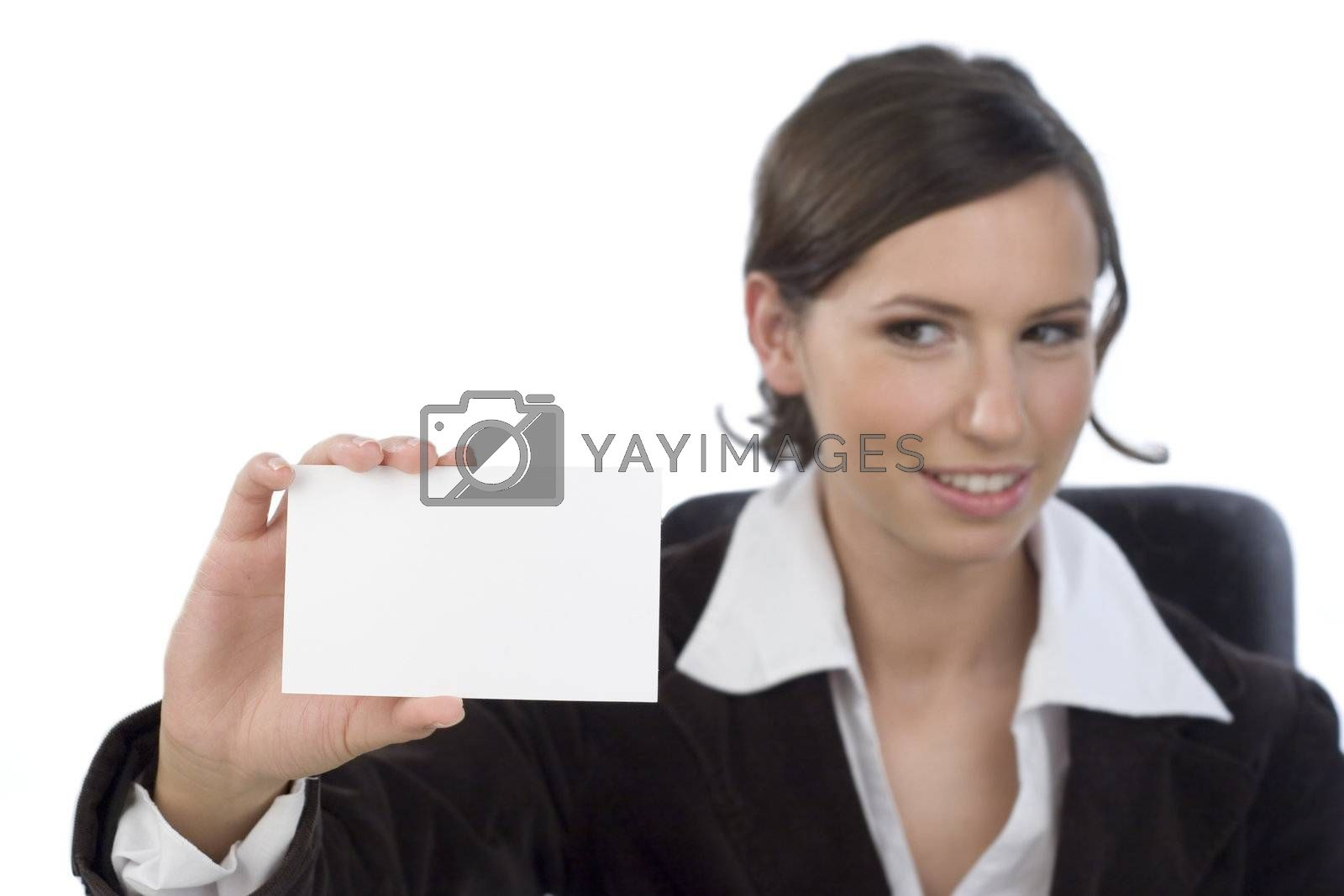 Young businesswoman presenting businesscard