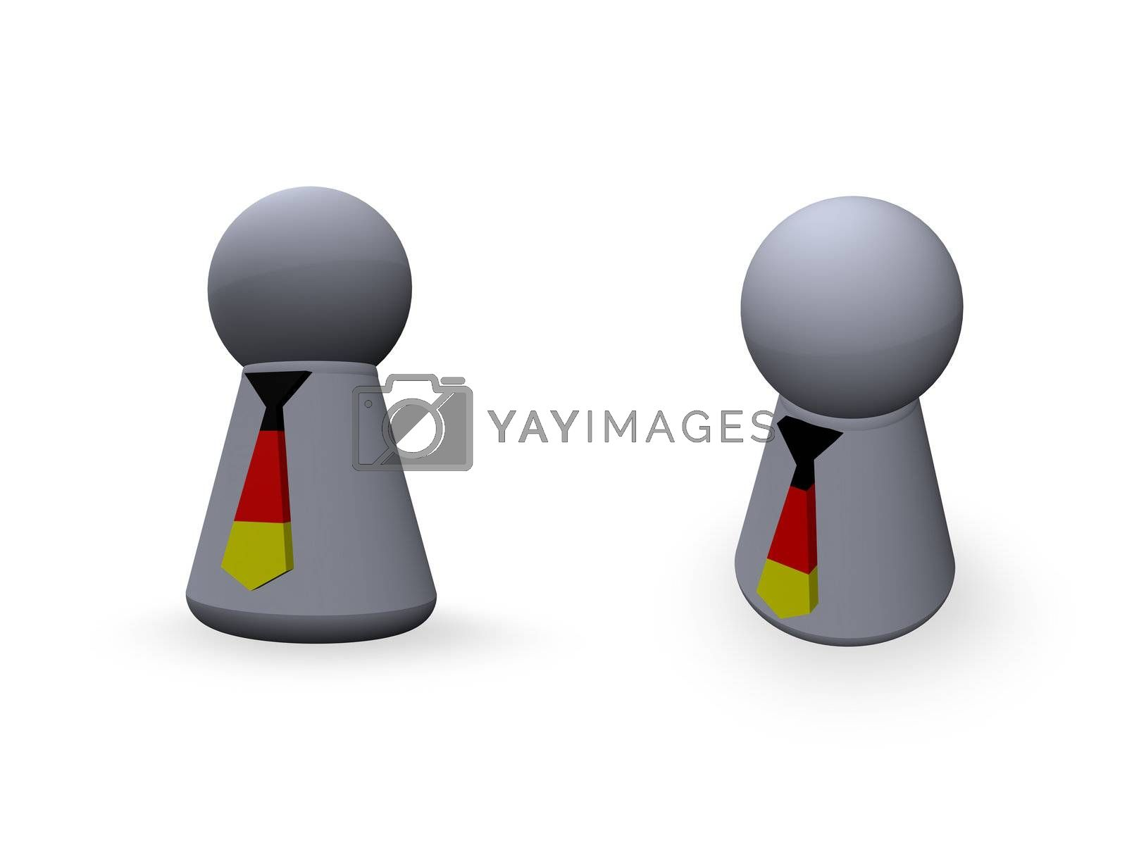 play figure with tie in german colors