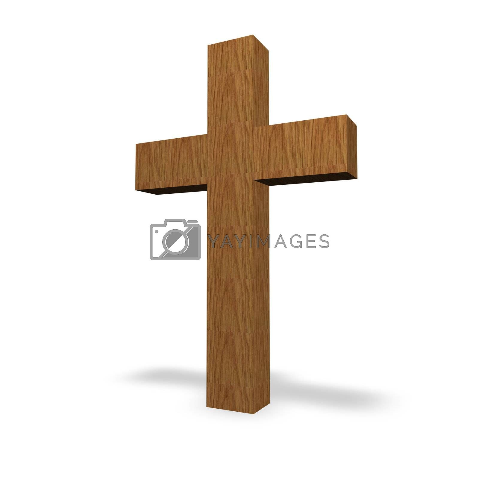 wooden cross on a white background