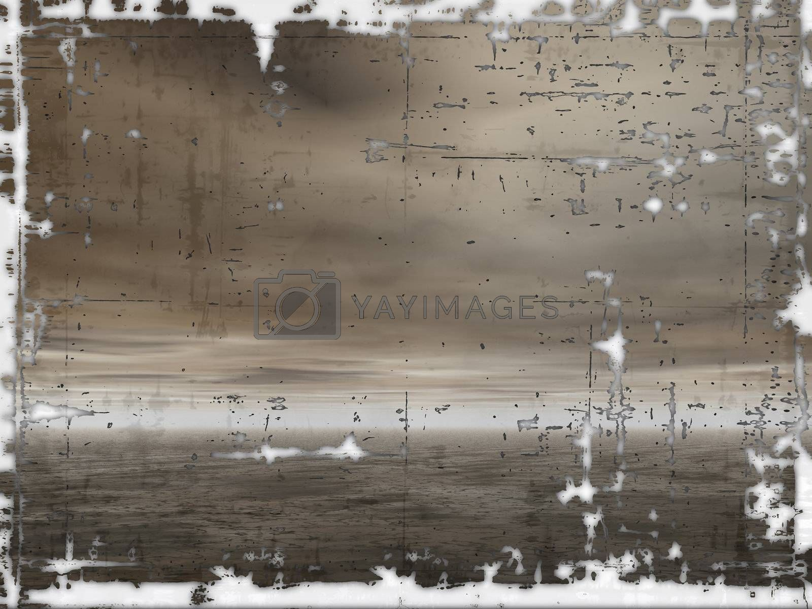 dark clouds and water on a grunge paper