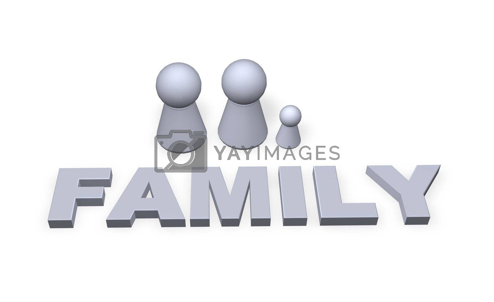 family text in 3d and play figure family