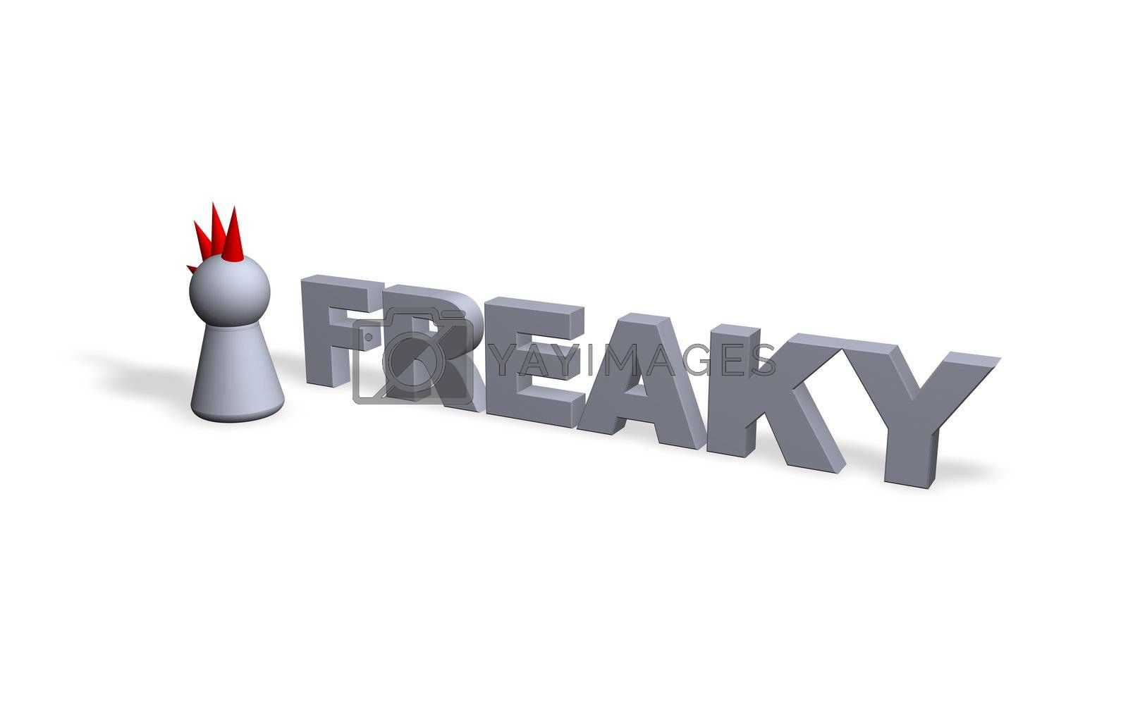 freaky text in 3d and play figure with red hair