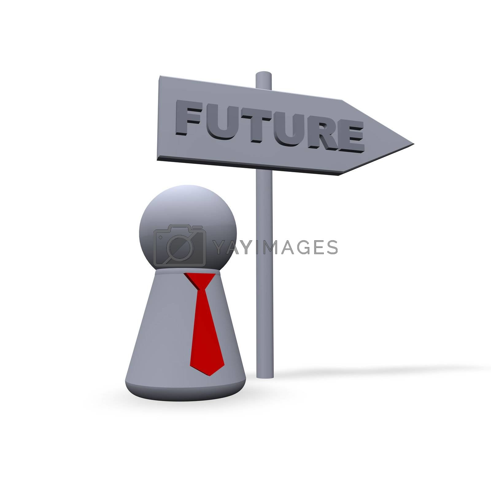 play figure with red tie and sign to future