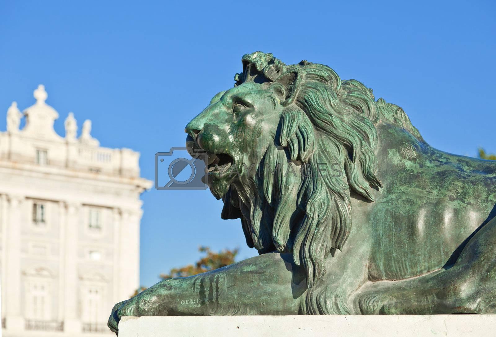 Madrid Plaza de Oriente, statue of lion. Madrid, Spain