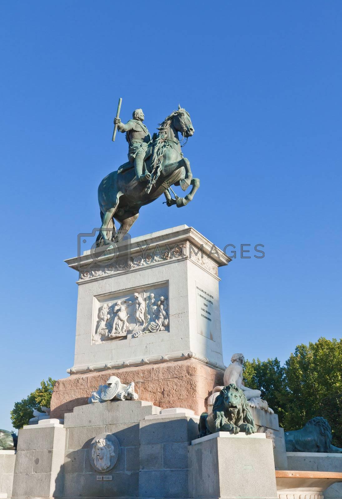 Madrid Plaza de Oriente, statue of Felipe IV. Madrid, Spain