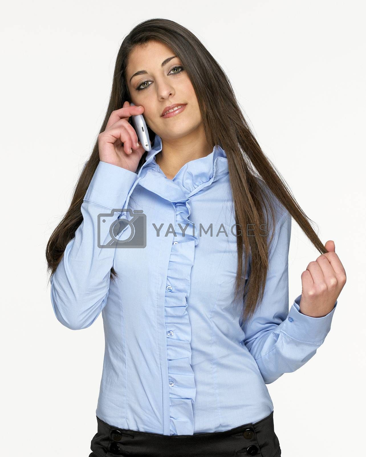 Pretty young girl talking on mobil phone