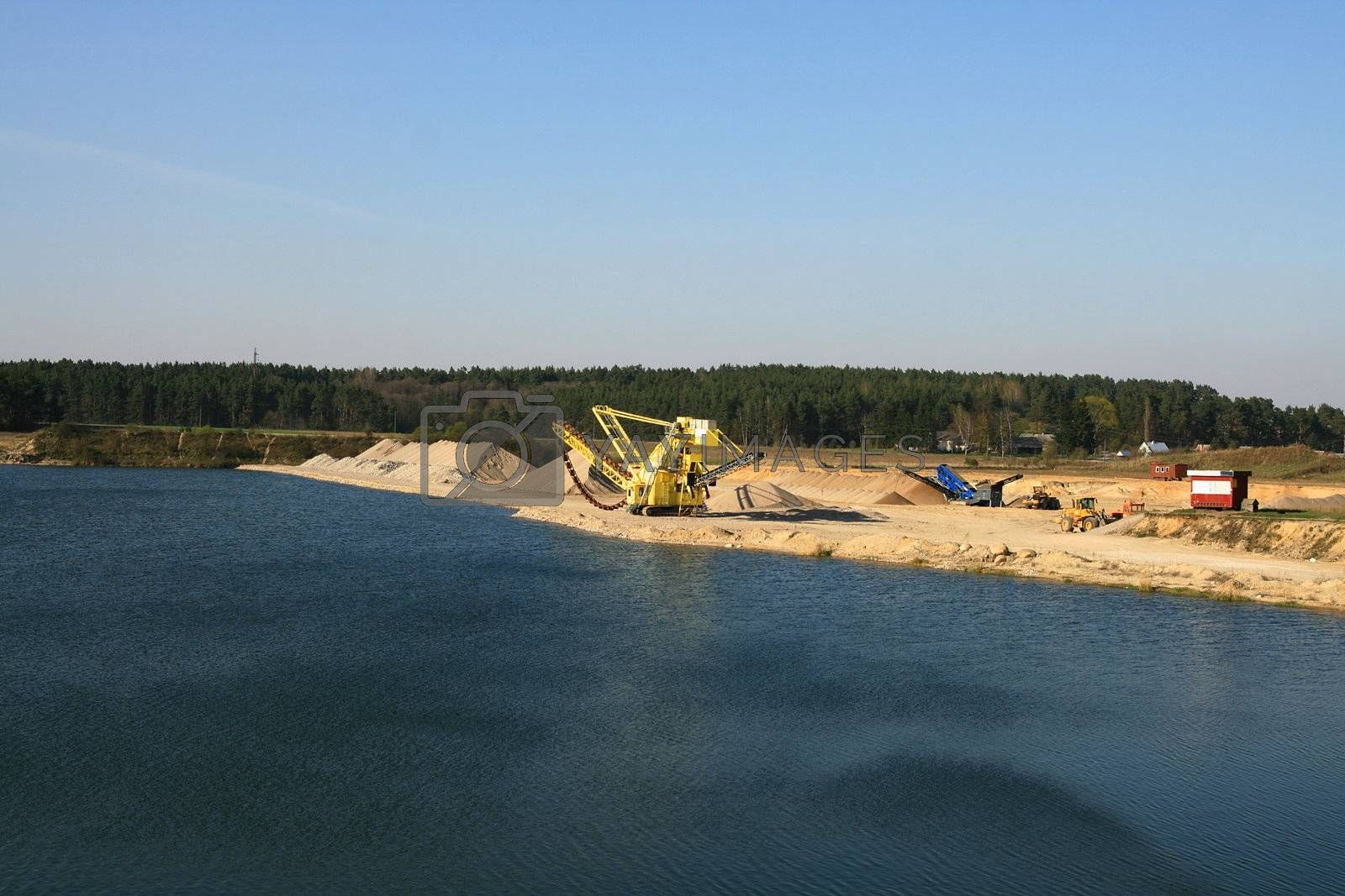 Open crushed rocks and gravel quarry
