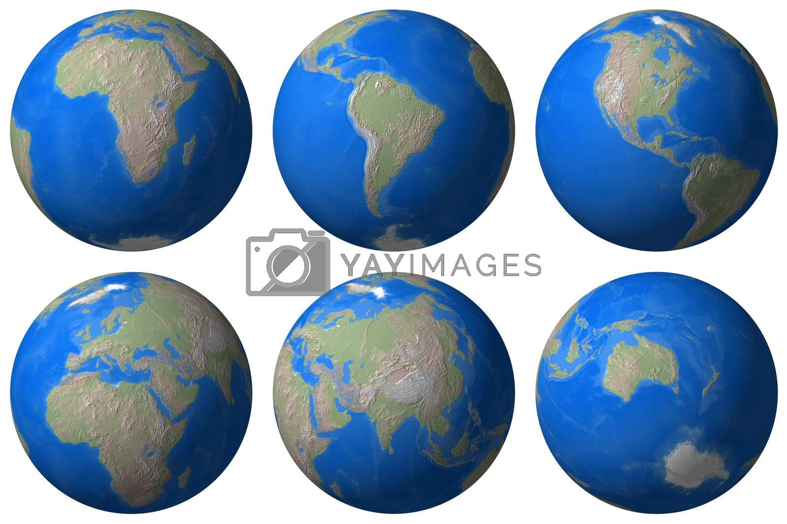 World Globe - Earth different view - isolated