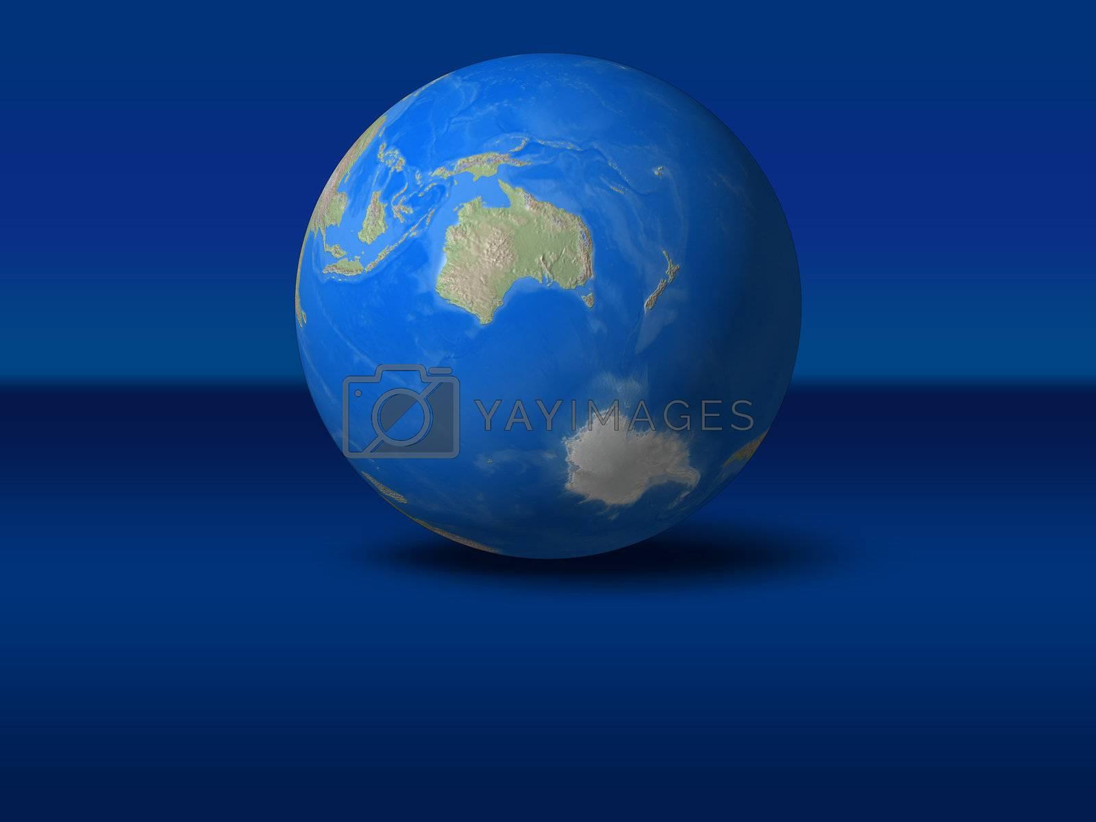 World Globe on blue graphic background Australia view