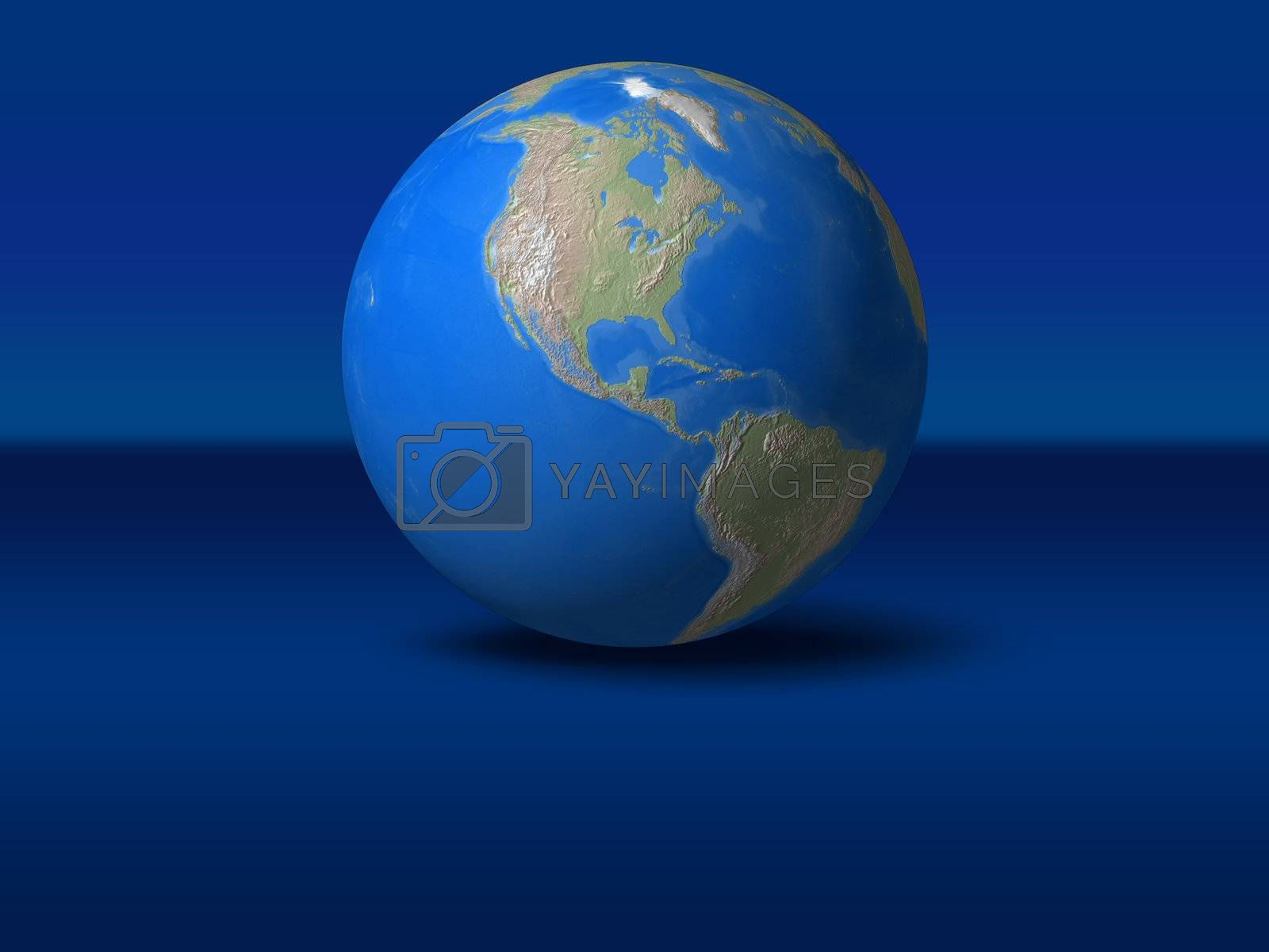 World Globe on blue graphic background North America view
