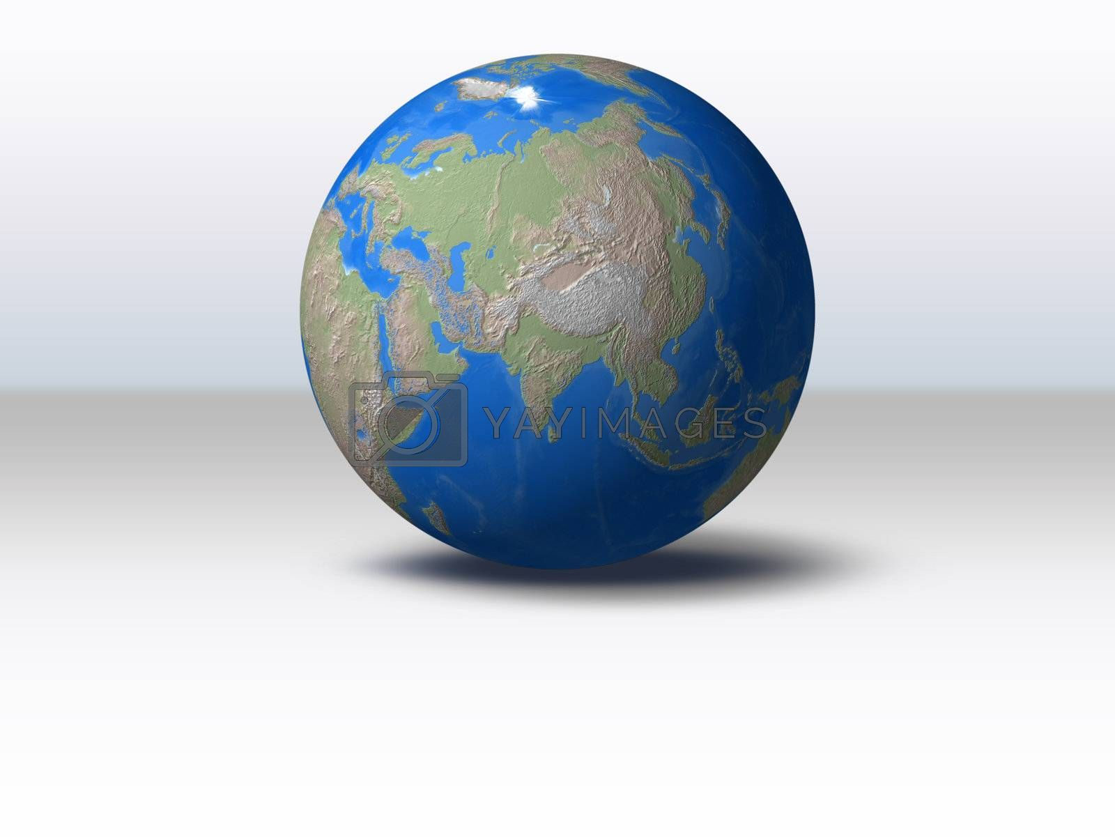 World Globe with shadow and background Asia view