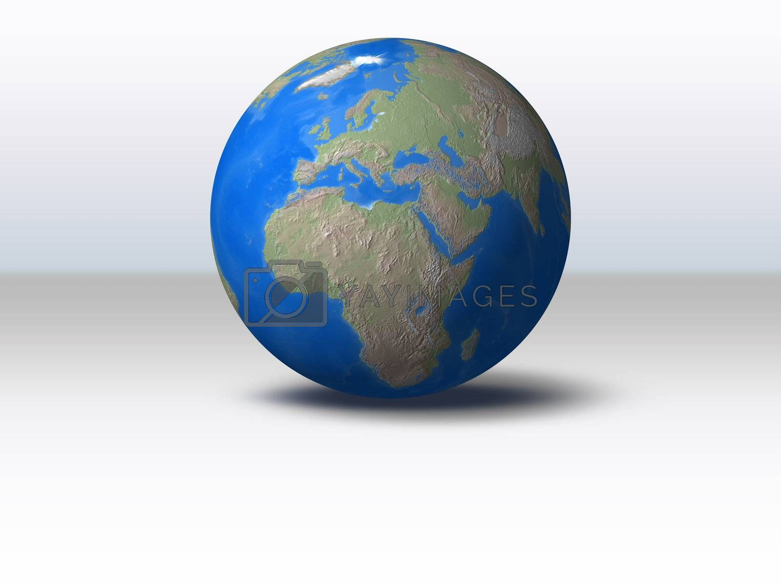 World Globe with shadow and background Europe view