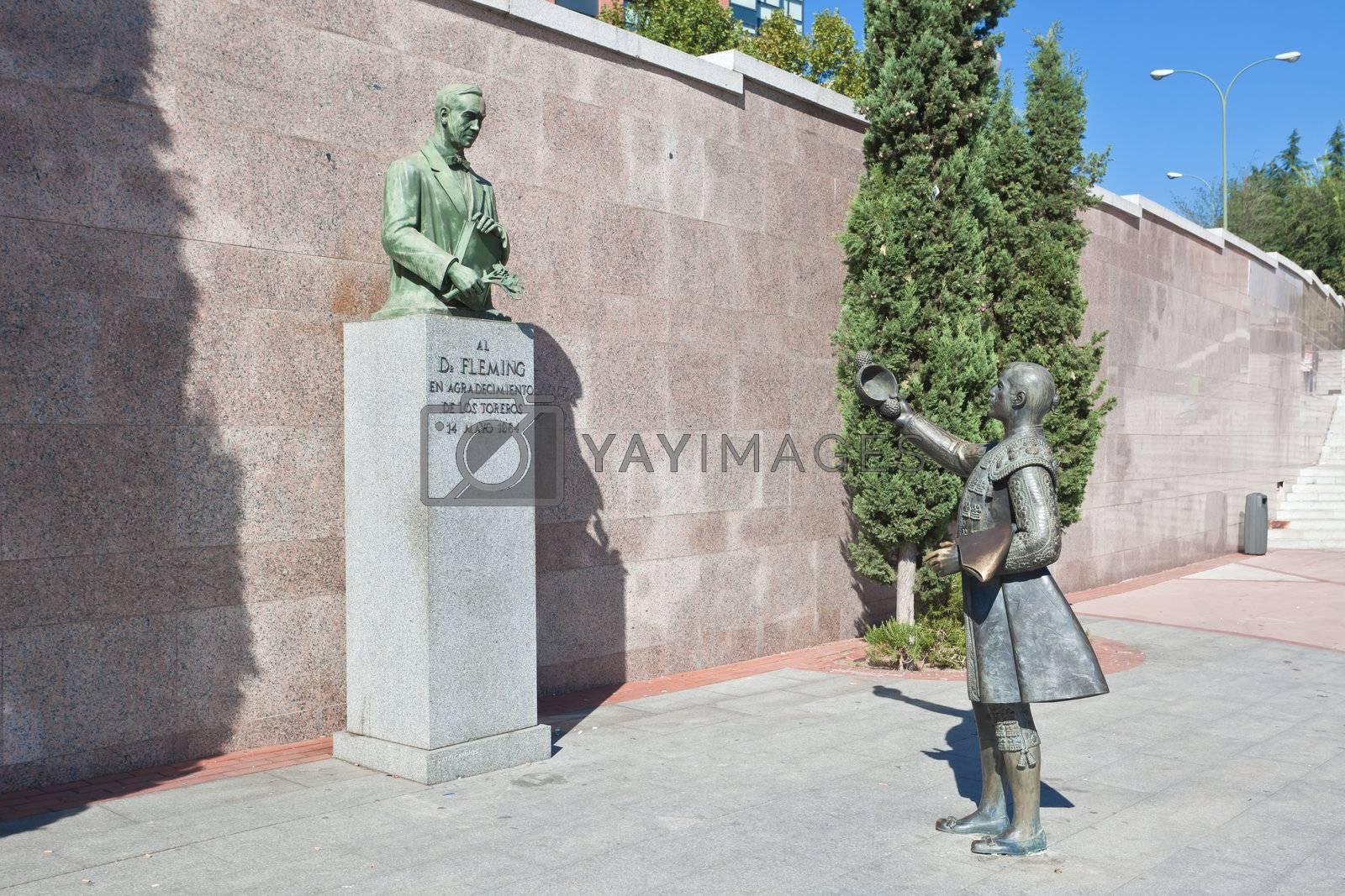 sculpture in front of Bullfighting arena Plaza de Toros in Madrid,