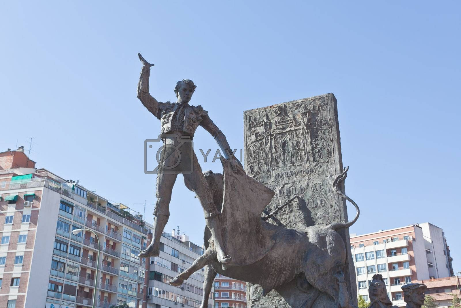 Royalty free image of sculpture in front of Bullfighting arena Plaza de Toros i by gary718