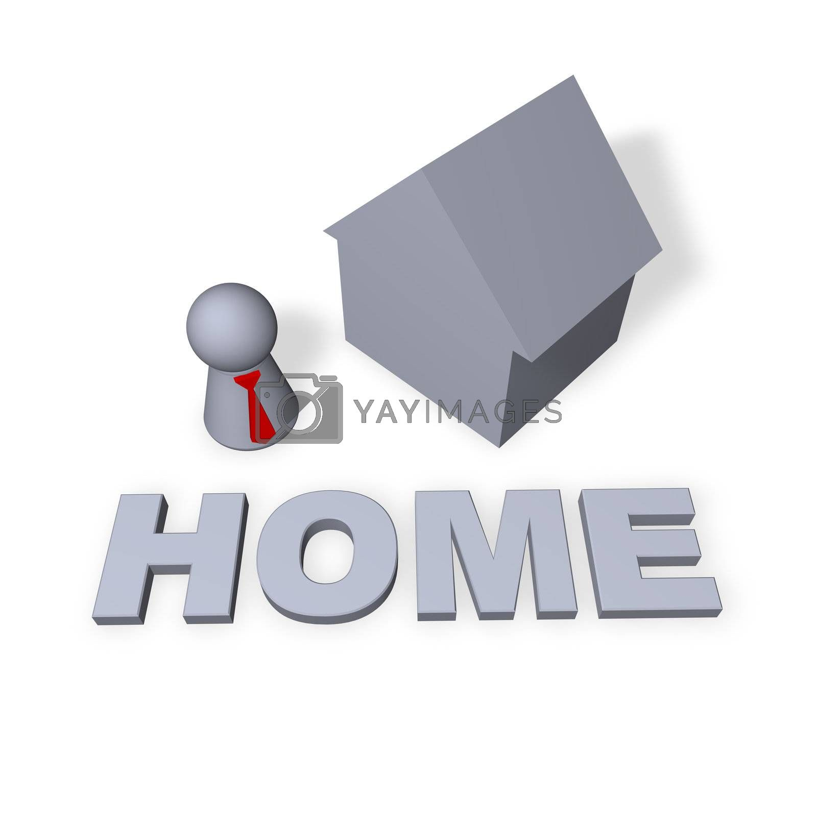 home text in 3d, a house and play figure with red tie