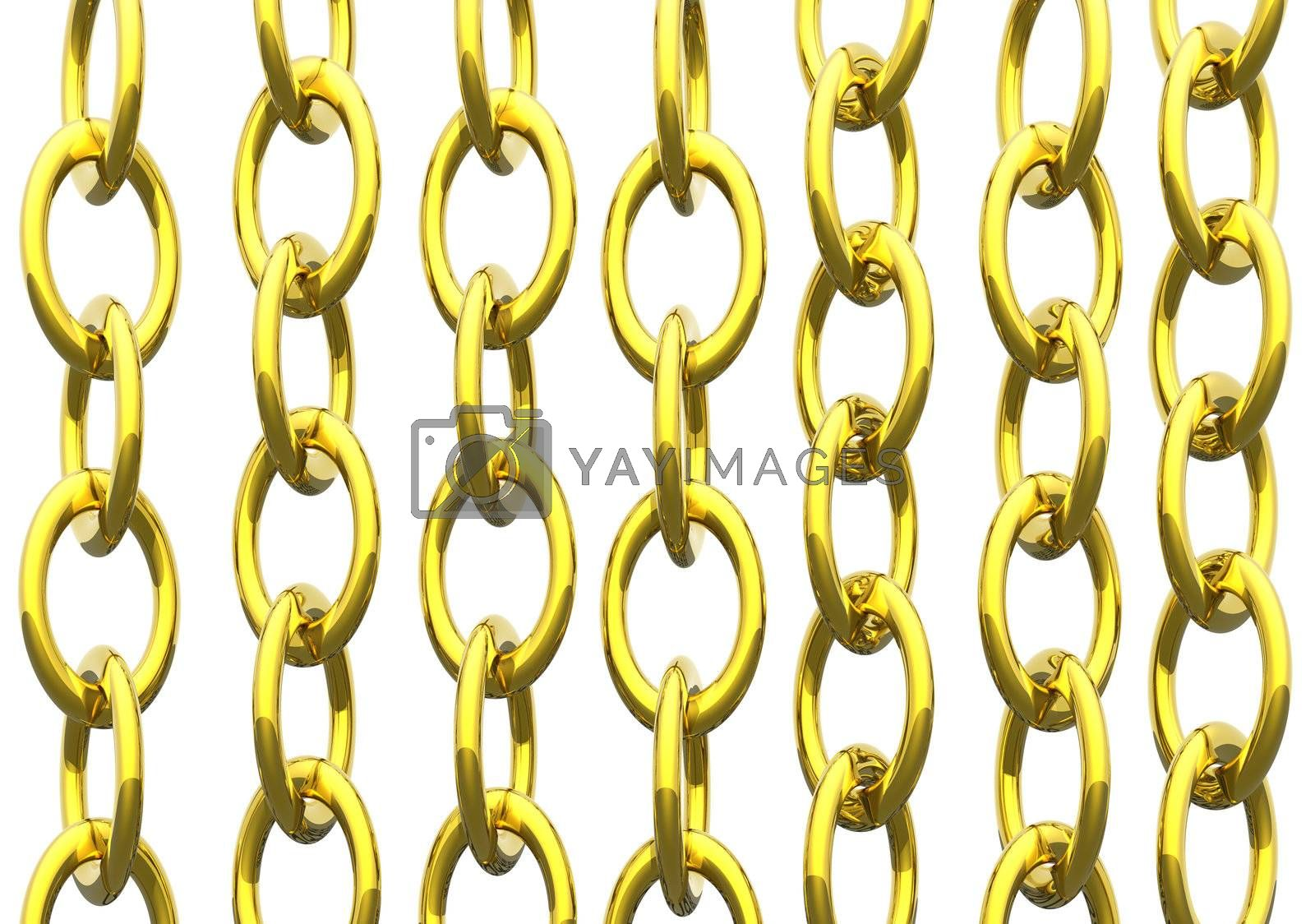 gold chains on white background