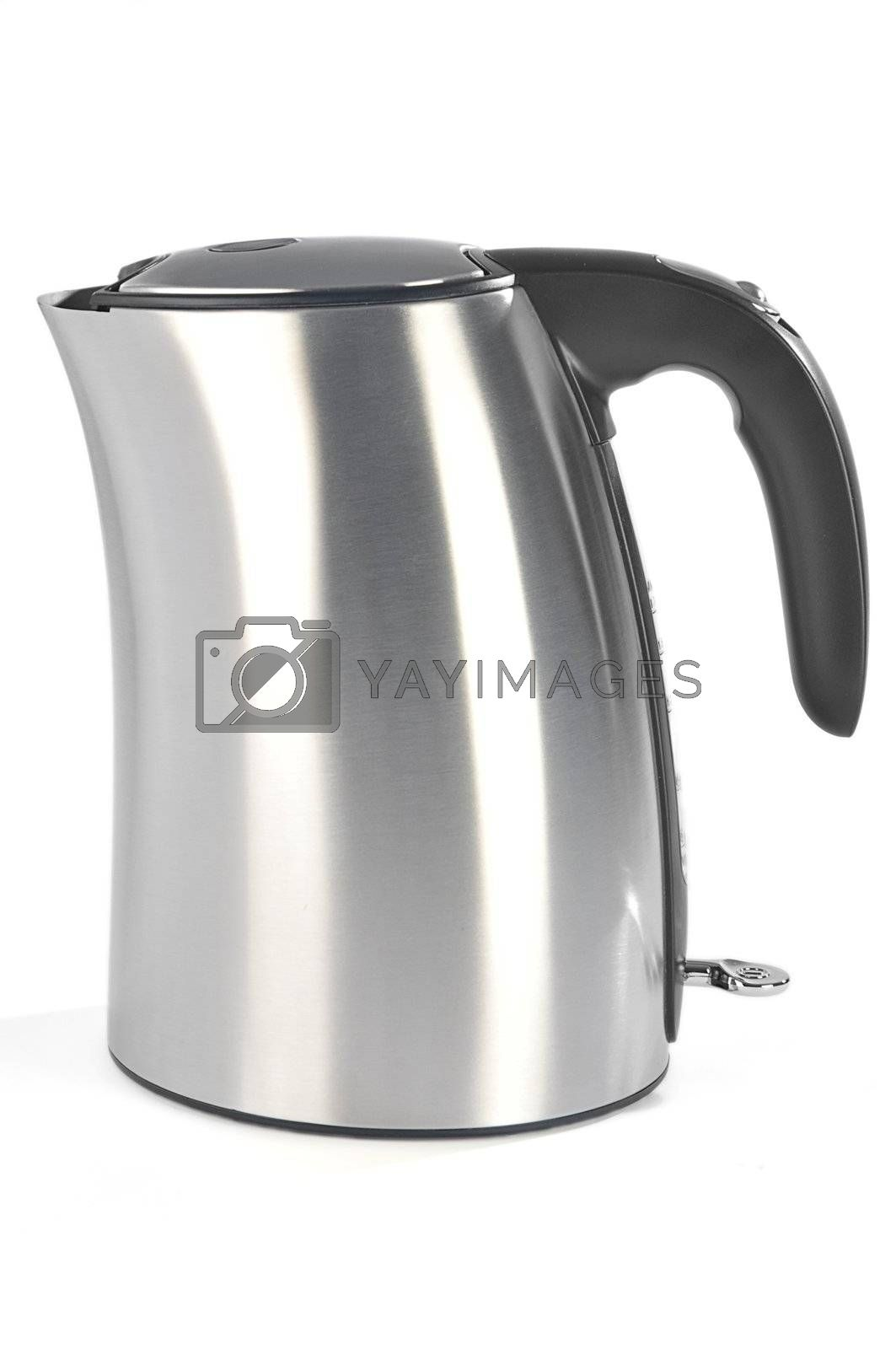Metallic electric kettle isolated on white background