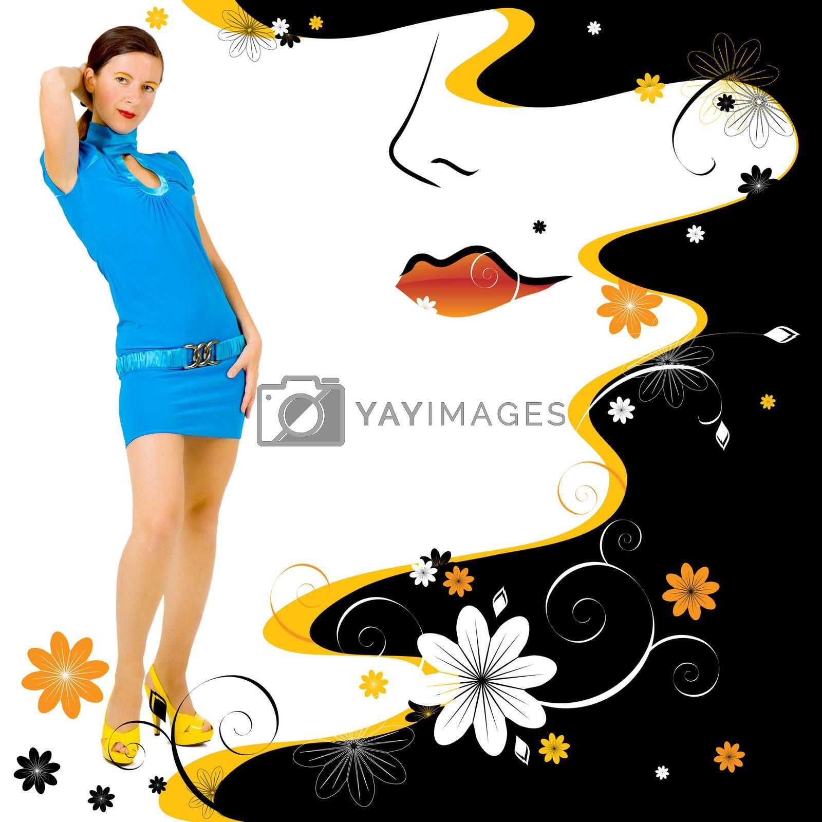 Fashion girl with the illustrated floral background