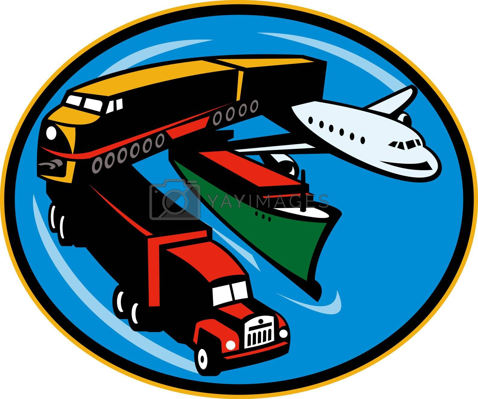 Train, truck, container ship and airplane travel by patrimonio