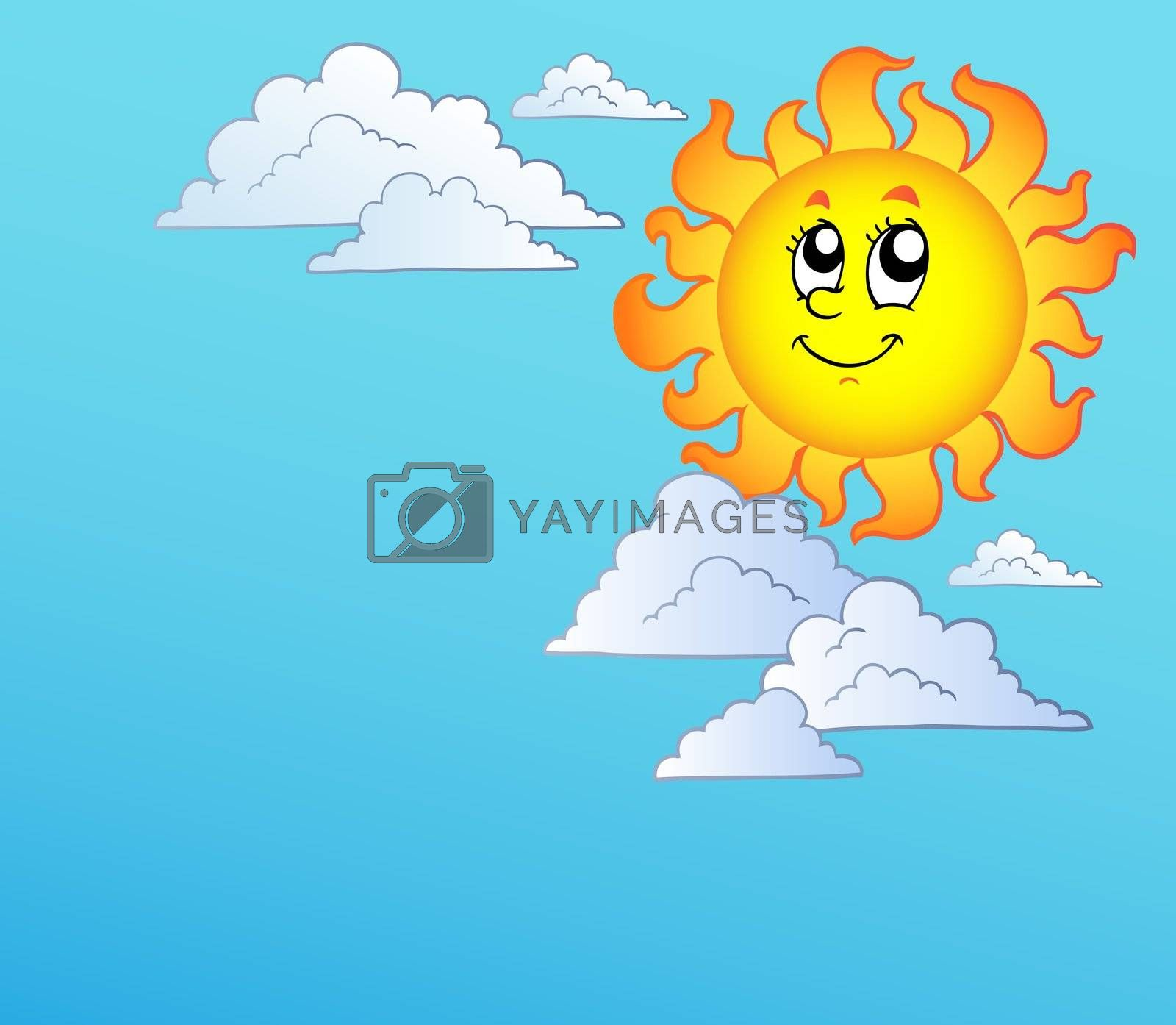 Cartoon Sun with clouds on blue sky - vector illustration.