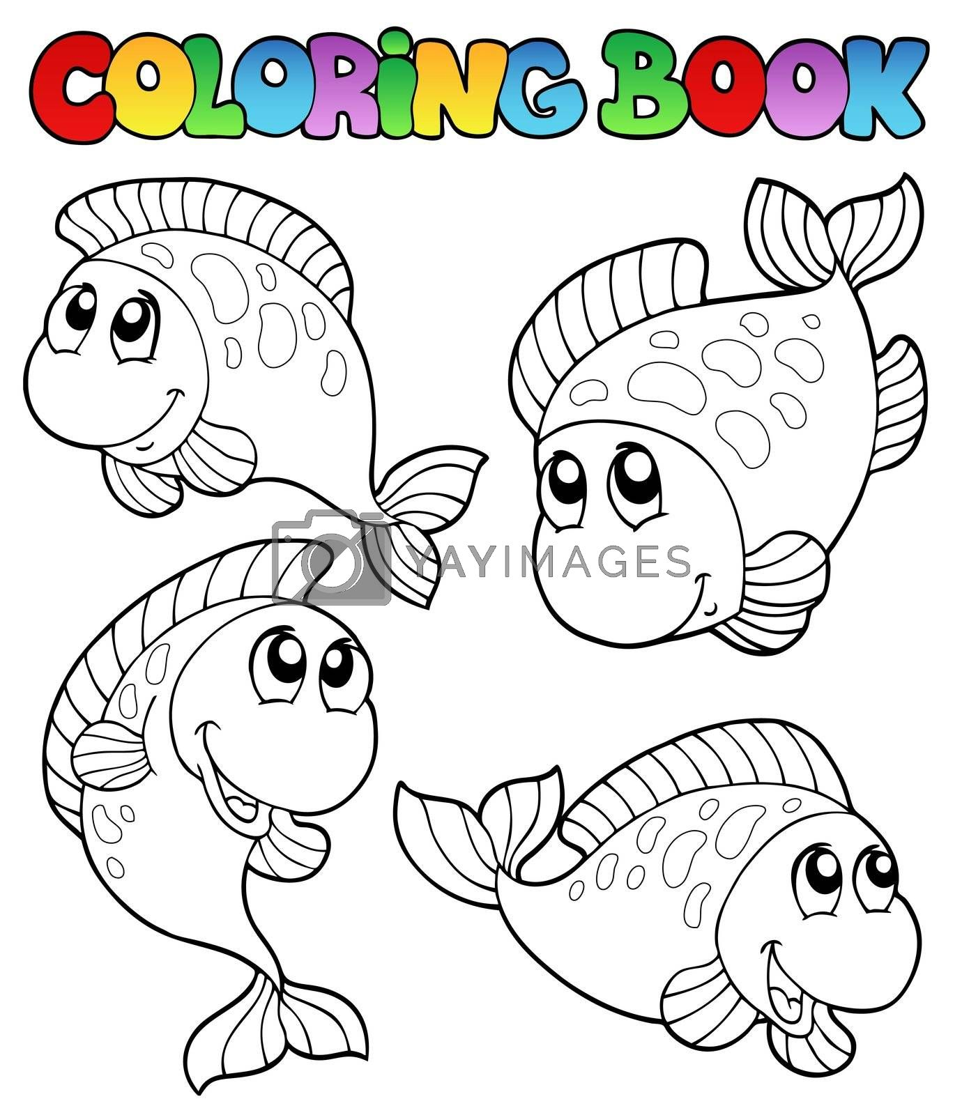 Coloring book with four fishes - vector illustration.