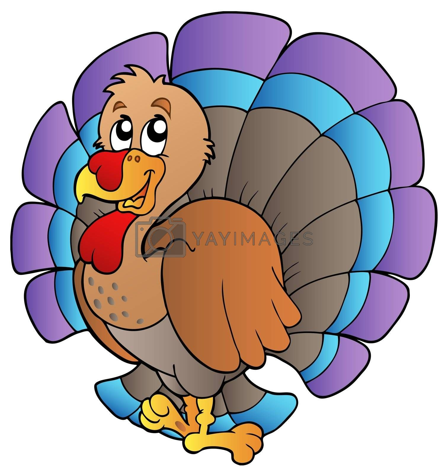 Happy cartoon turkey - vector illustration.