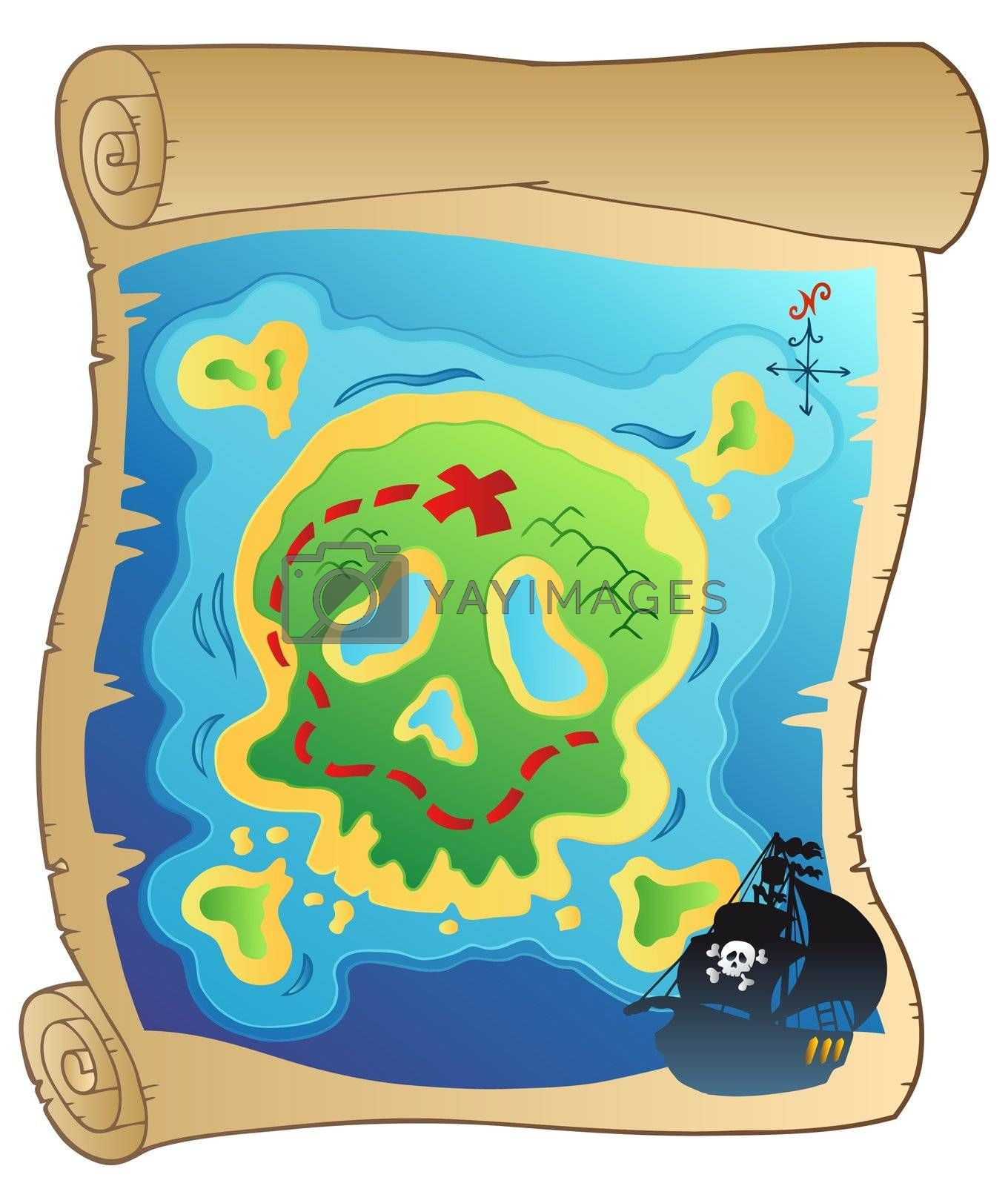 Old parchment with pirate map - vector illustration.