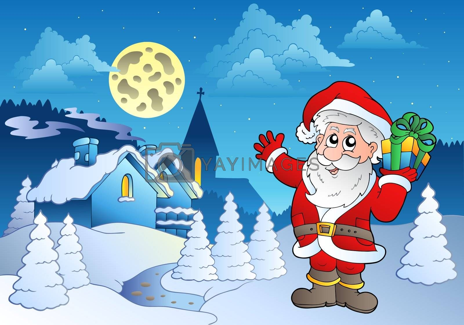 Santa Claus near small village 1 - vector illustration.