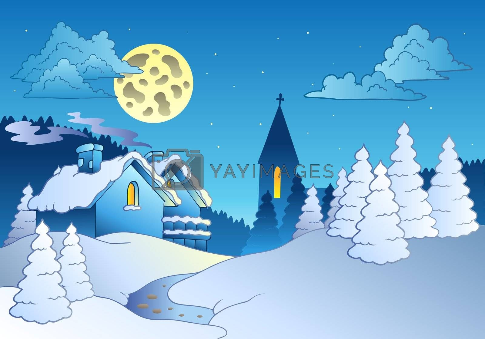 Small village in winter - vector illustration.