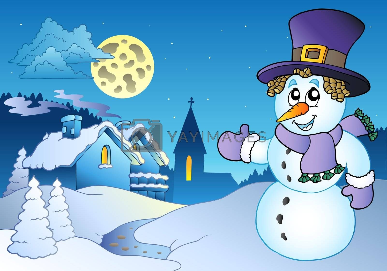 Snowman near small village - vector illustration.