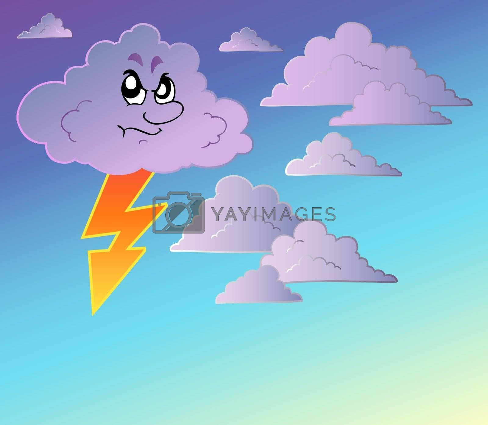 Stormy sky with cartoon clouds - vector illustration.