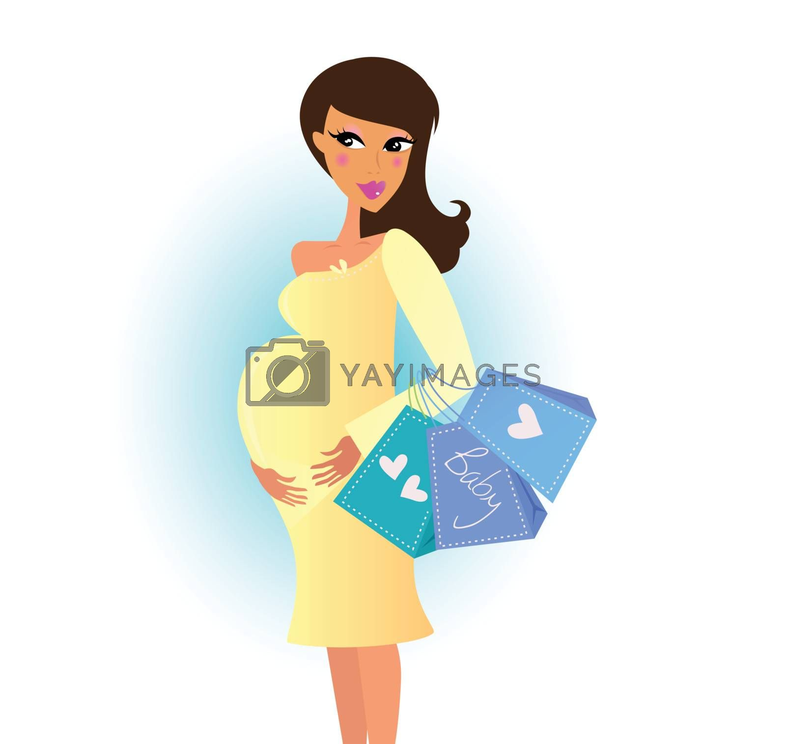 Beautiful pregnant woman on shopping for her new baby by Lordalea