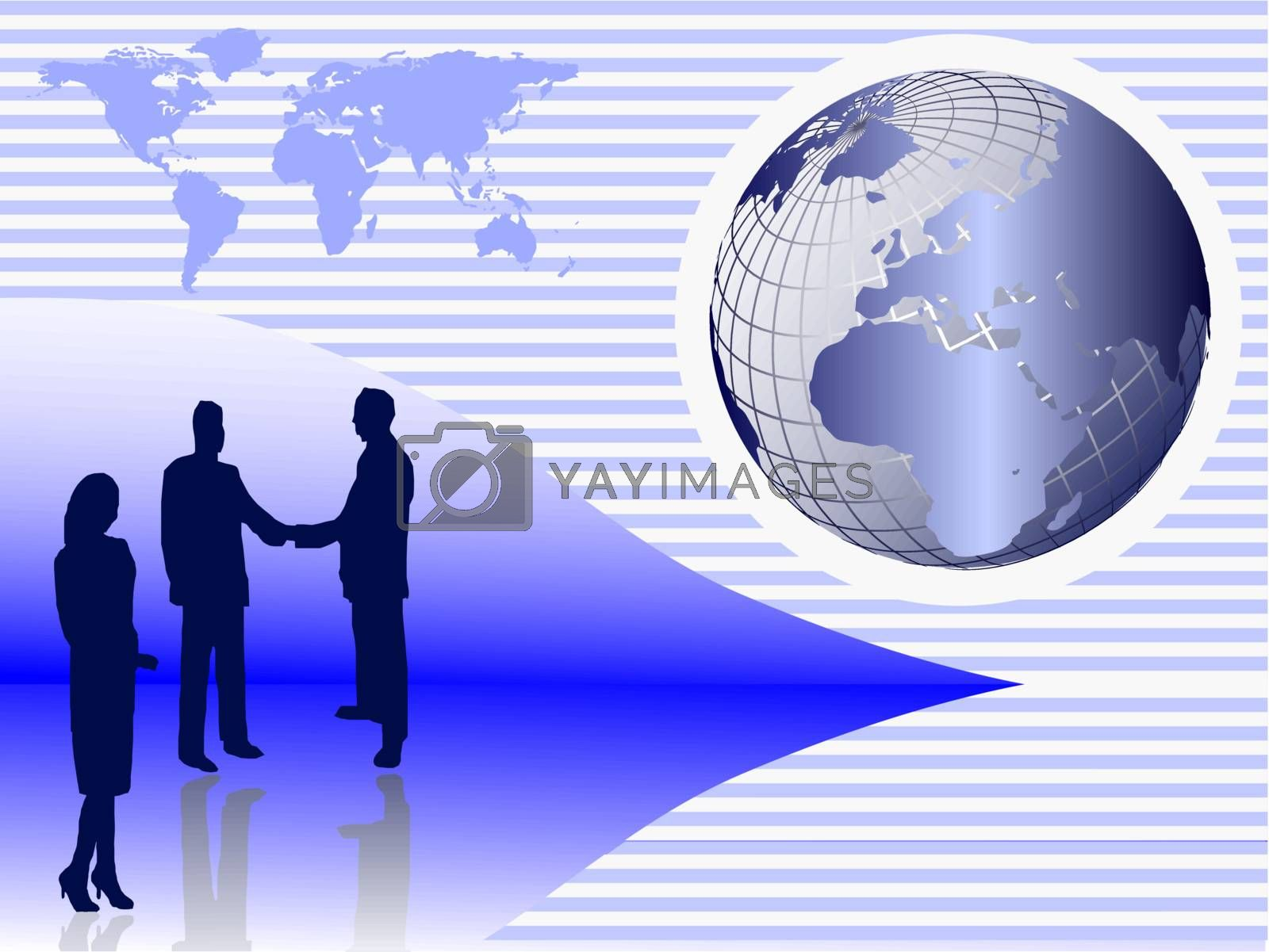 A group of business people in silhouette shaking hands in front of a globe of the earth