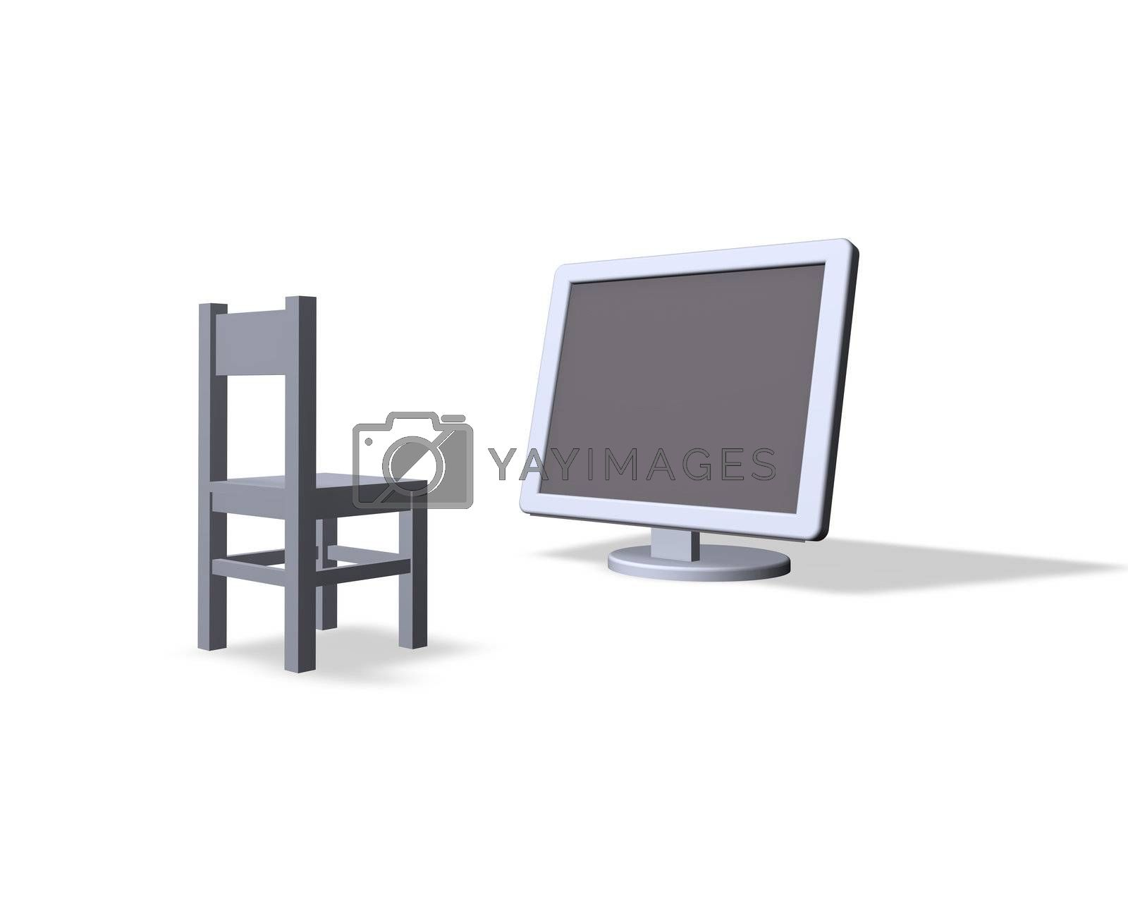 chair and a computer monitor