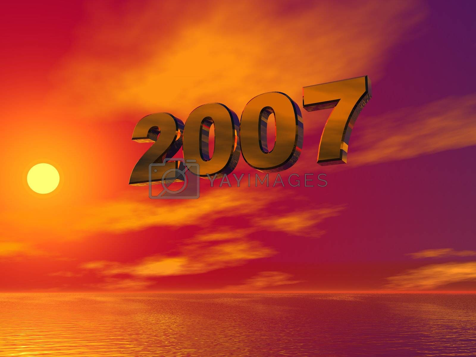 2007 text in 3d against colorful sky