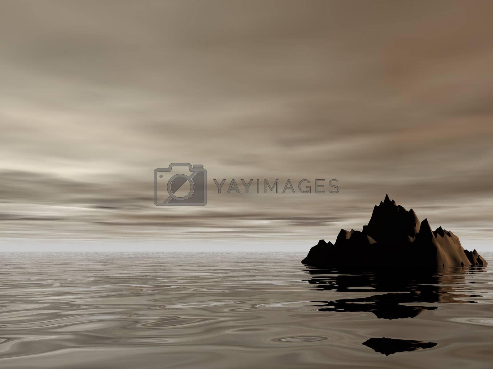 lonely rock in the ocean