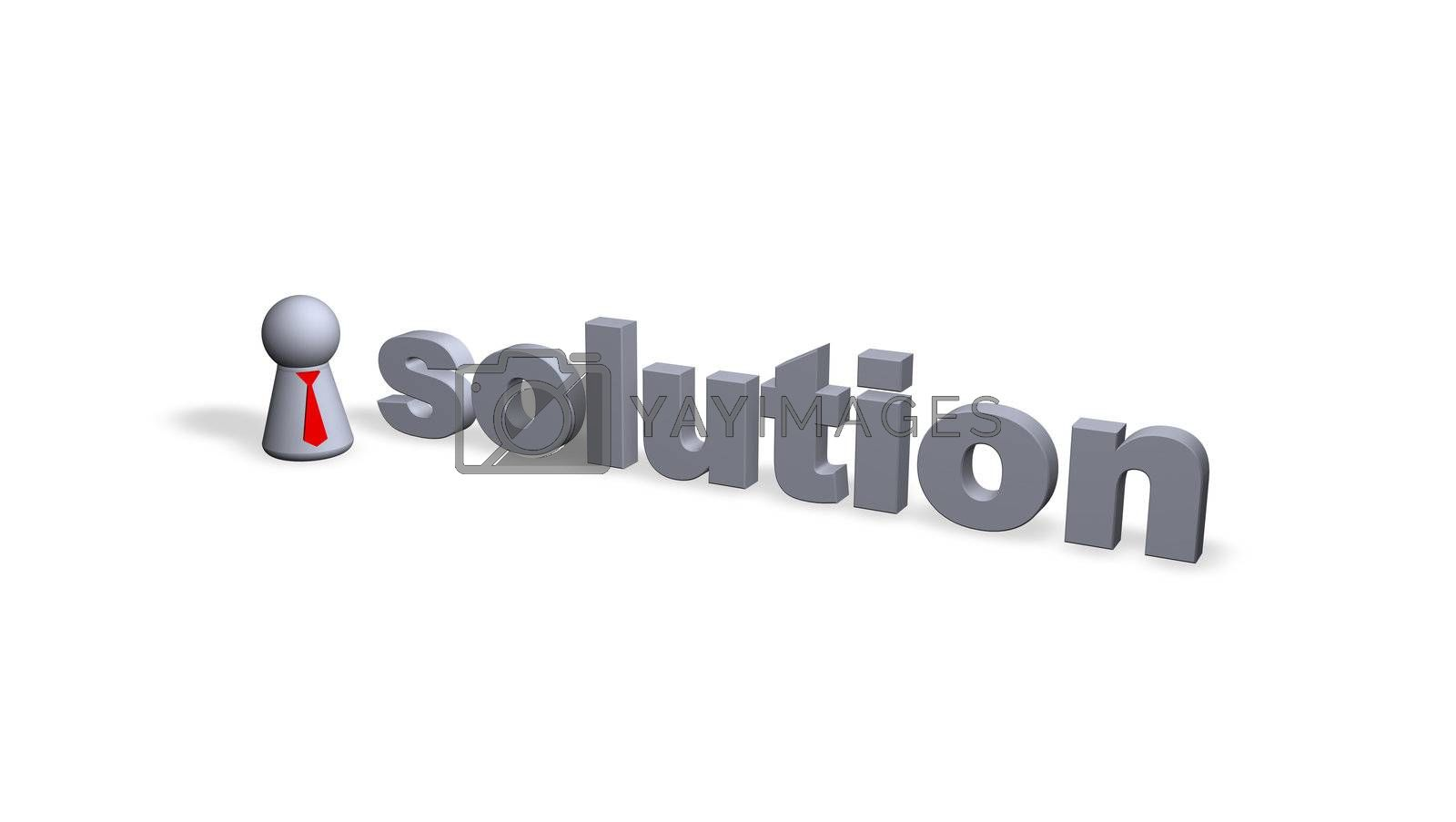 solution text in 3d and play figure with red tie