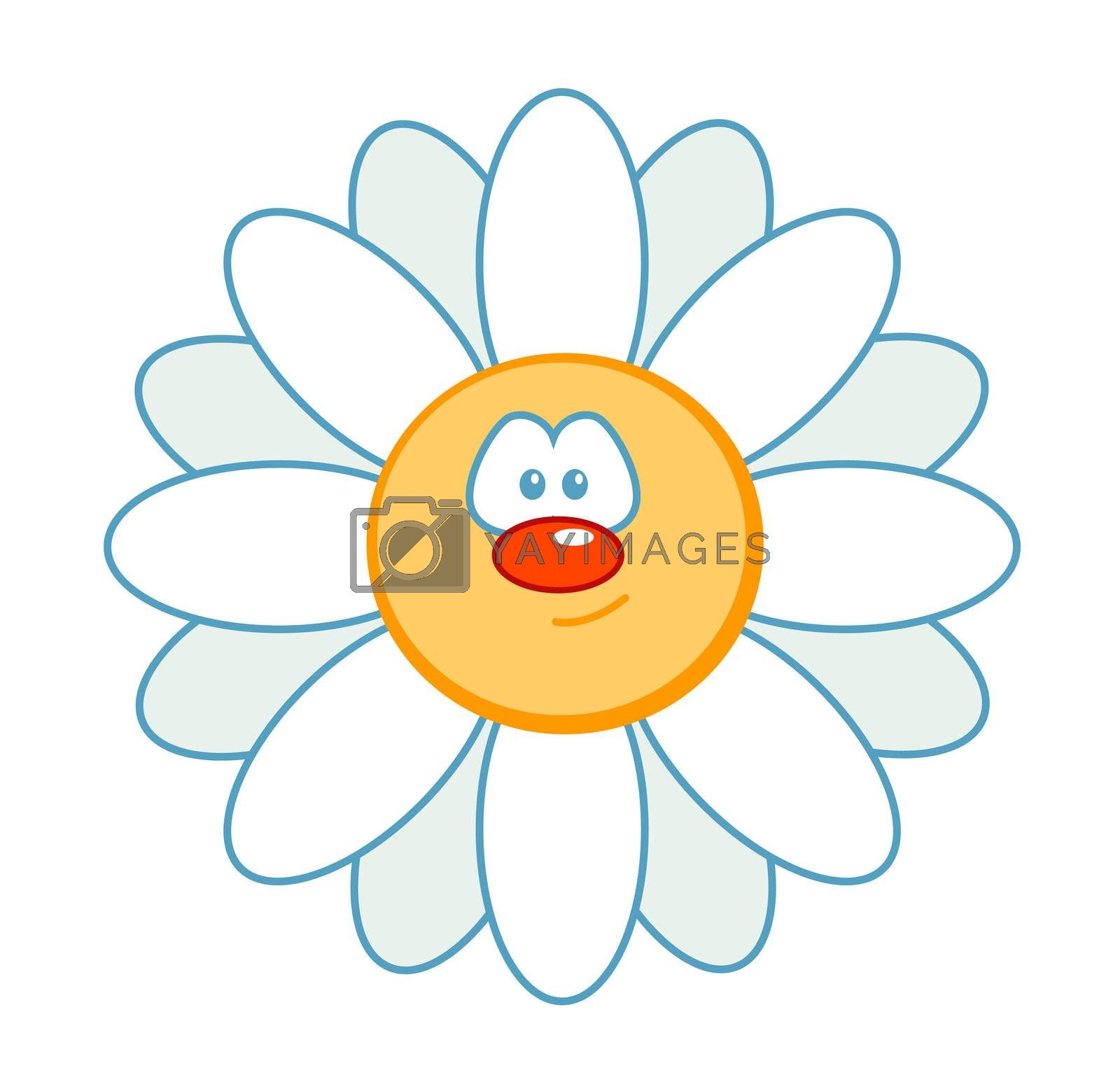 flower with comic face