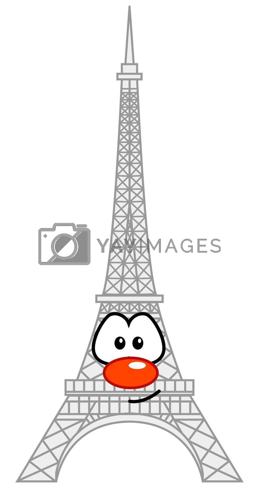 eiffel tower with comic face
