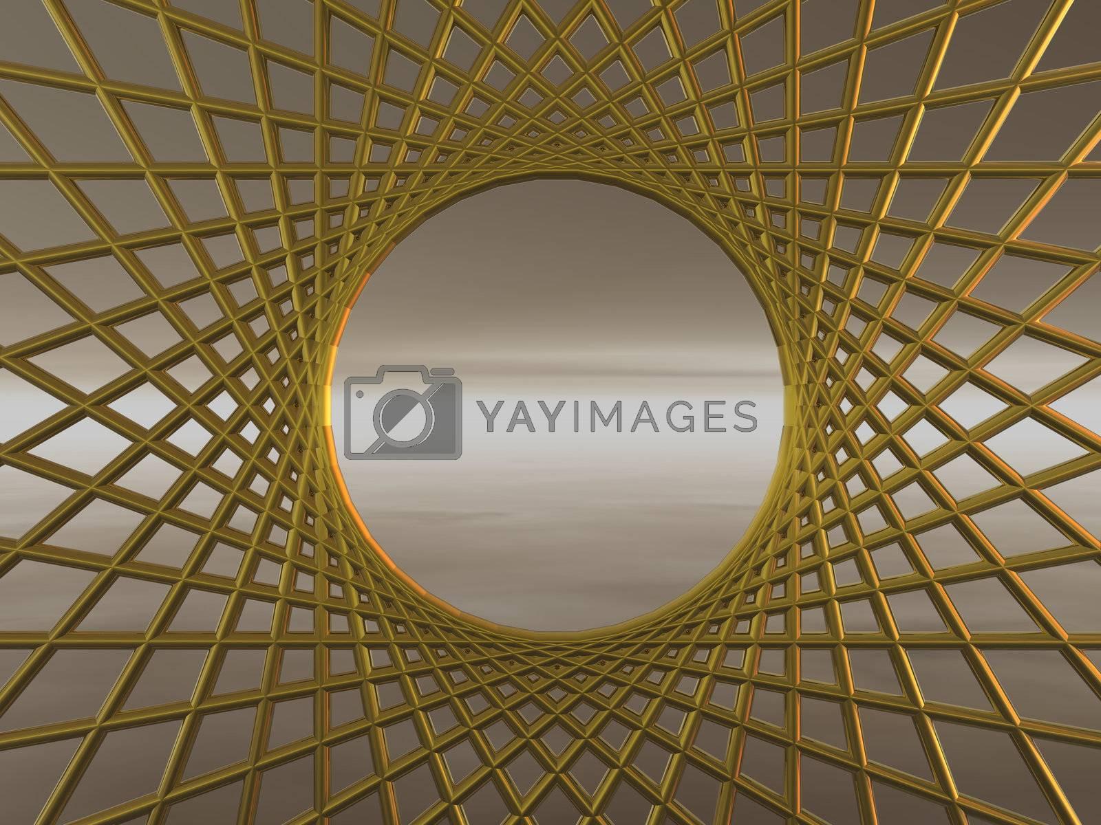 golden net - background illustration 3d
