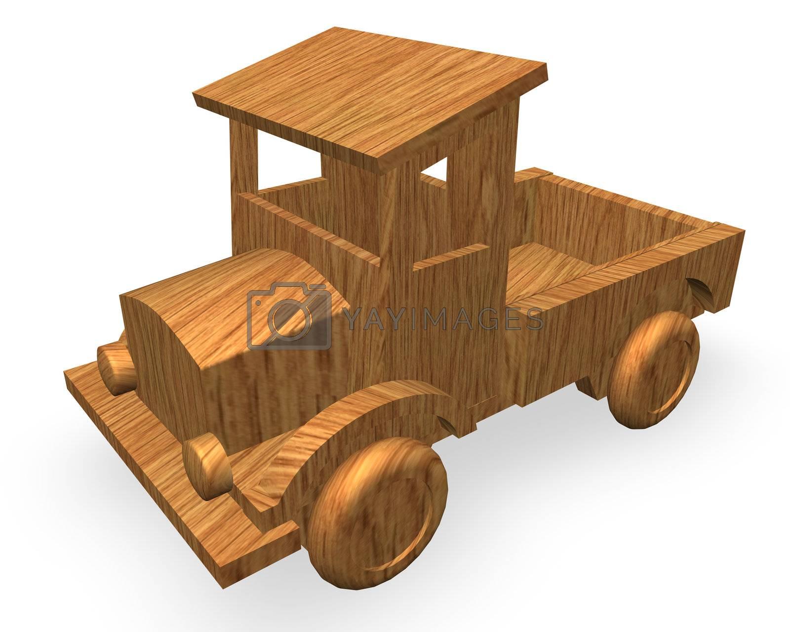 wood car toy on white background