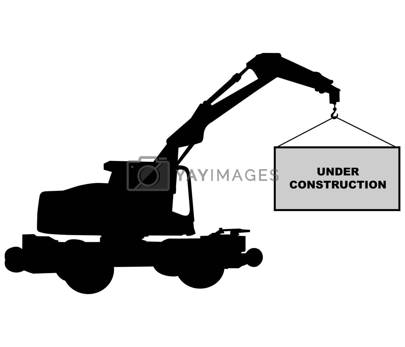 crane with under construction sign