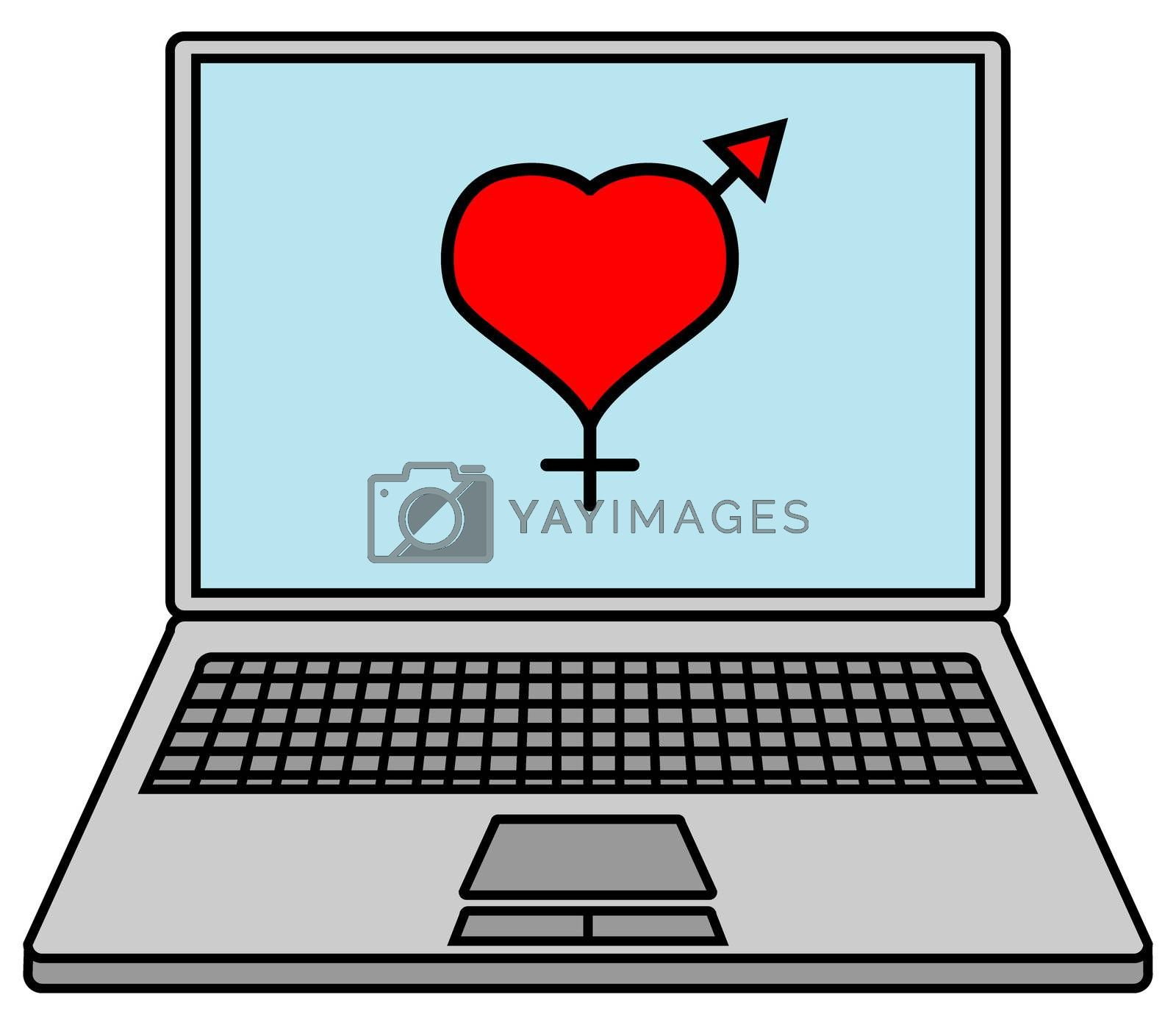 laptop with heart symbol