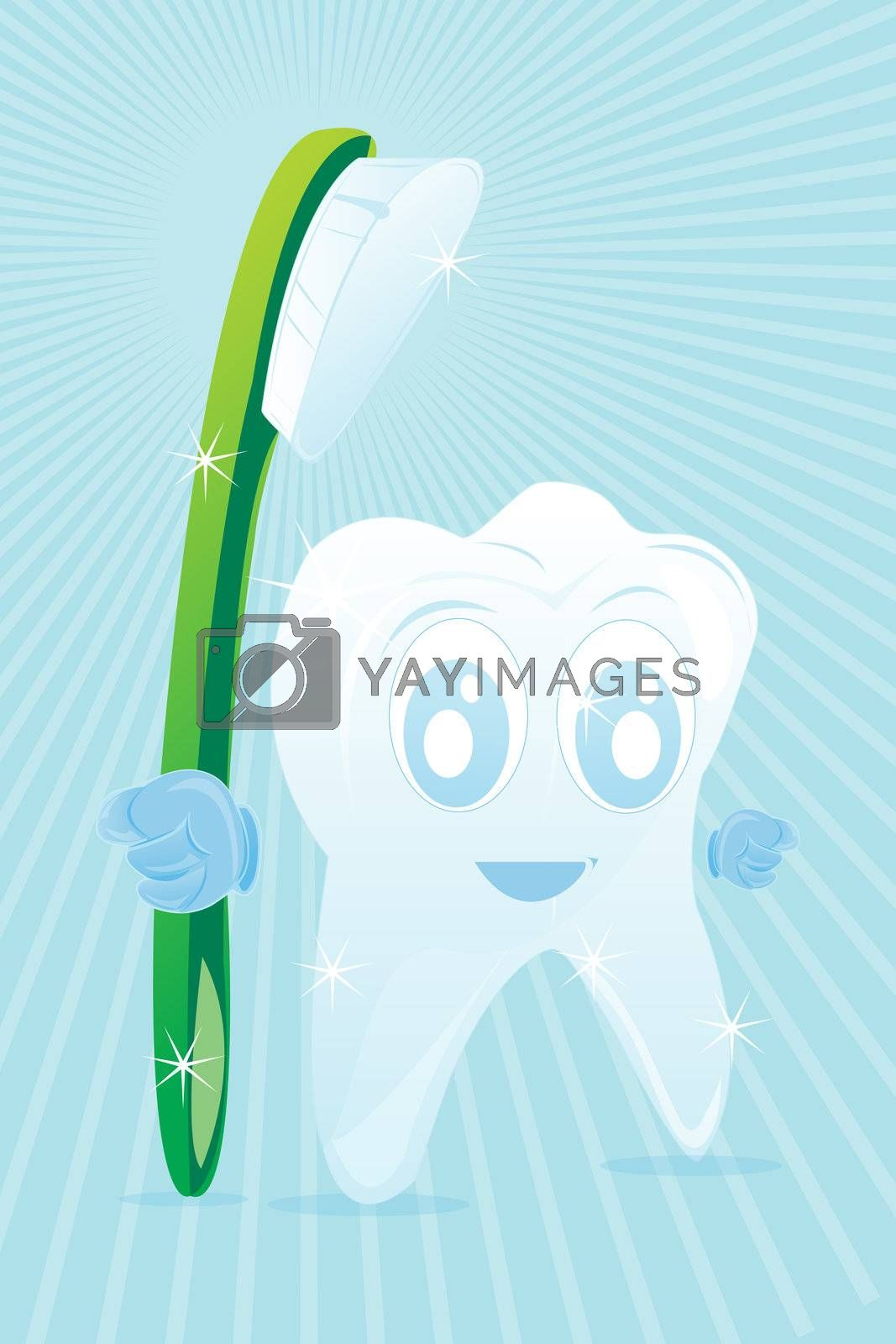 illustration of happy tooth with brush