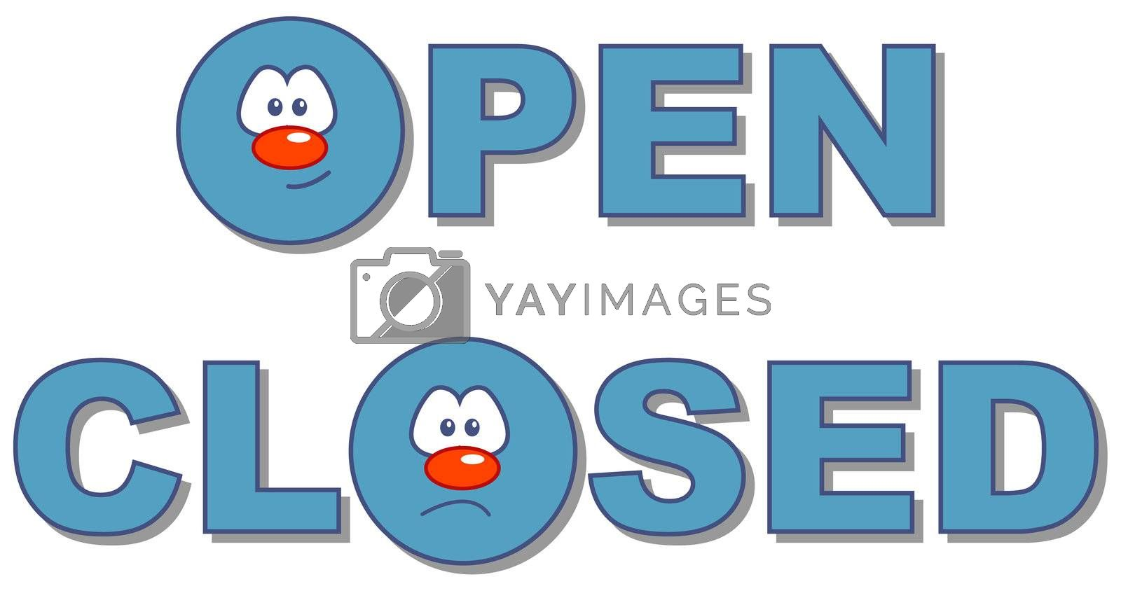 open closed text in comic style