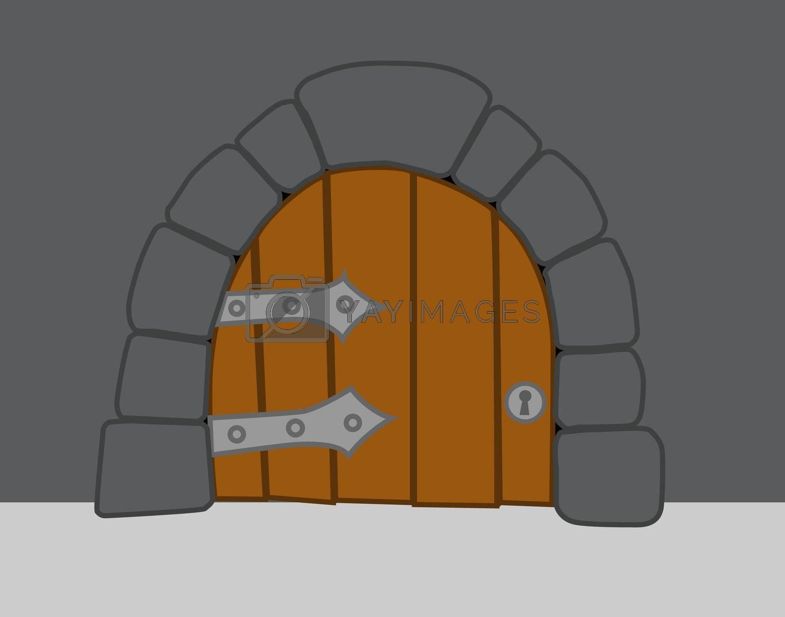 old heavy door in comic style
