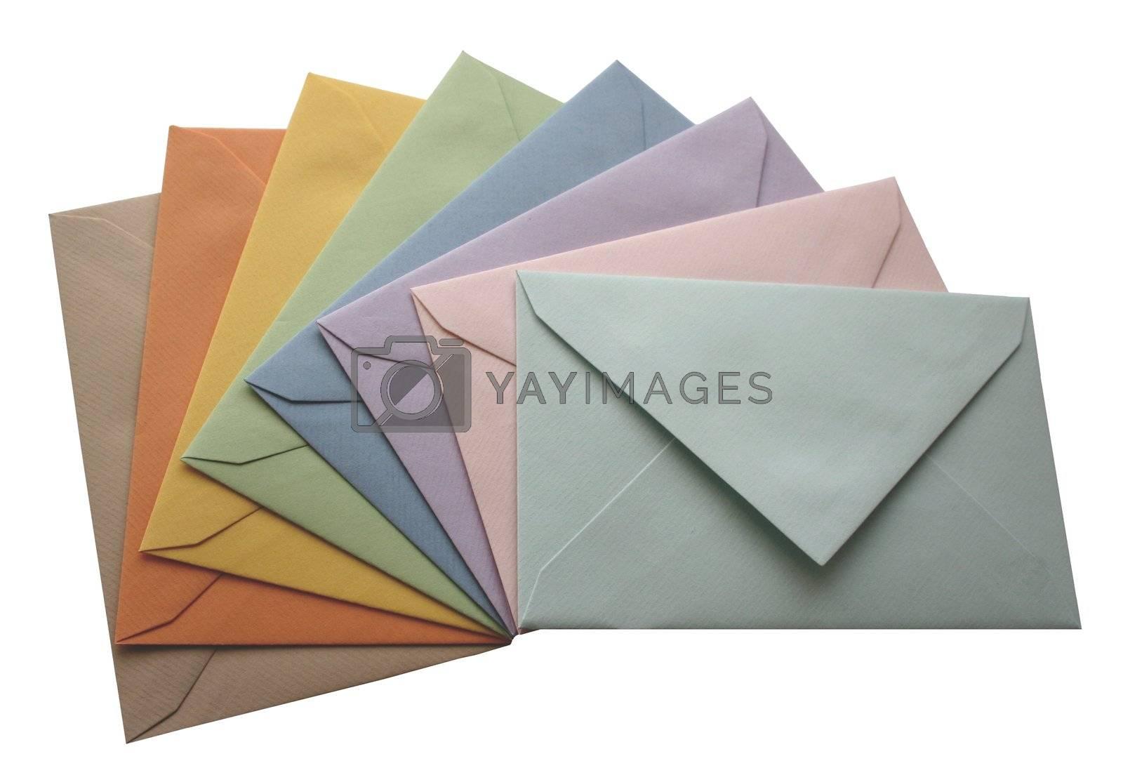 Colorful envelopes isolated on white background