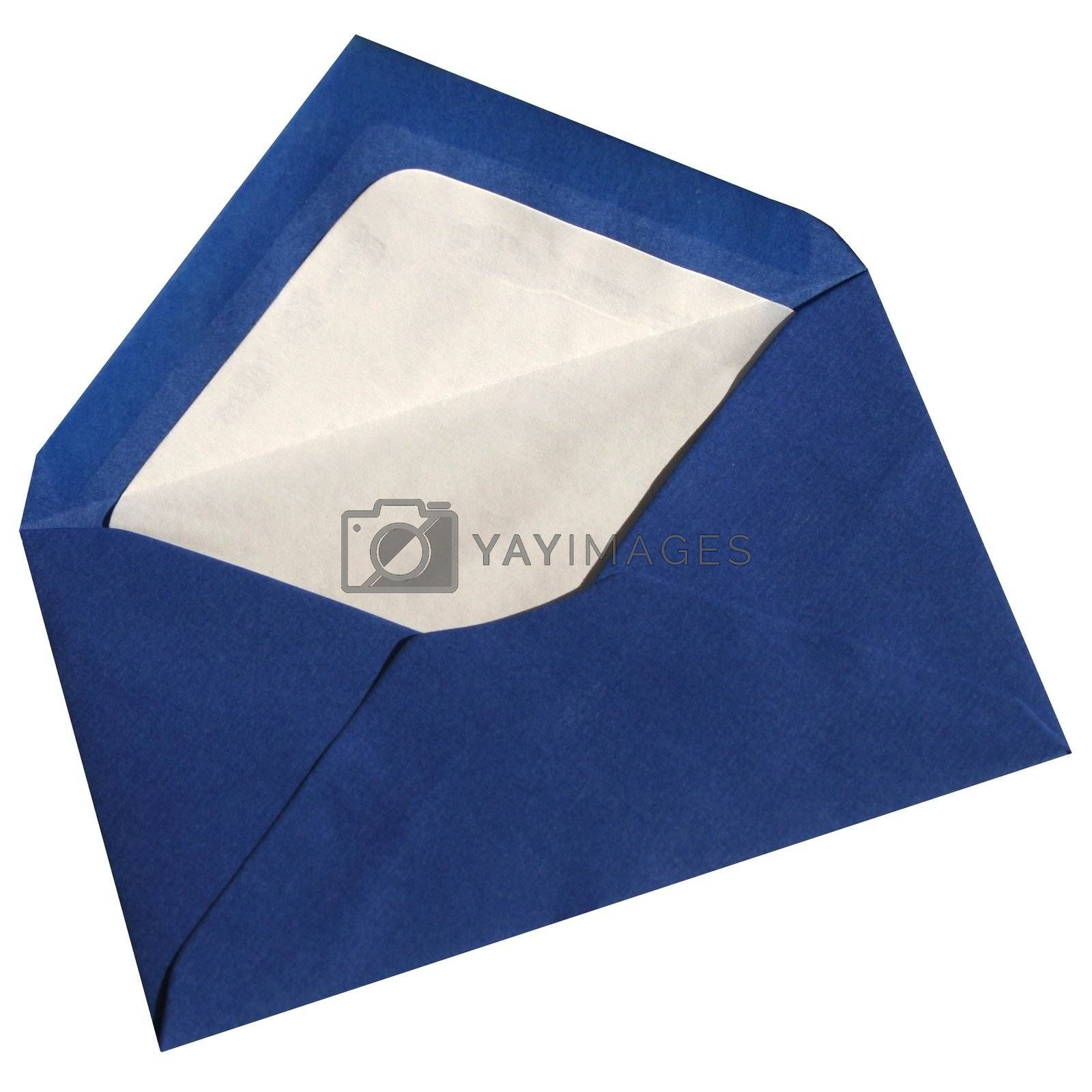 Bleu envelope open isolated on white background