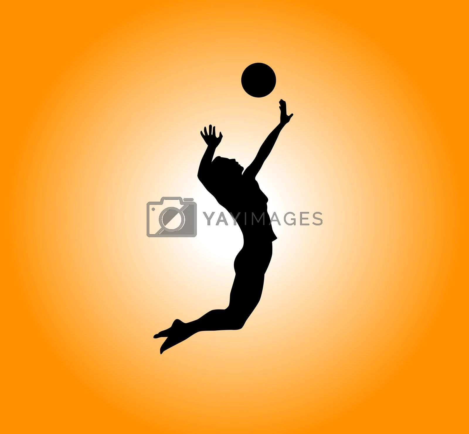 silhouette - woman plays volleyball